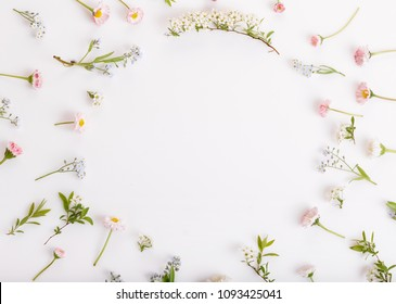 Festive wild spring summer flowers, daisies, forget-me-nots composition on the white background. Overhead top view, flat lay. Copy space. Birthday, Mother's, Valentines, Women's, Wedding Day concept.
