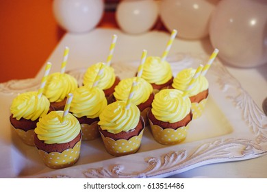 Festive Yellow Table Setting For Birthday Party On Celebratory Decorating Holiday Concept Delicious