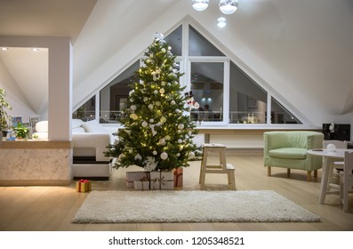 festively decorated home interior with Christmas tree
