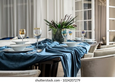 A festively decorated table in a chic apartment