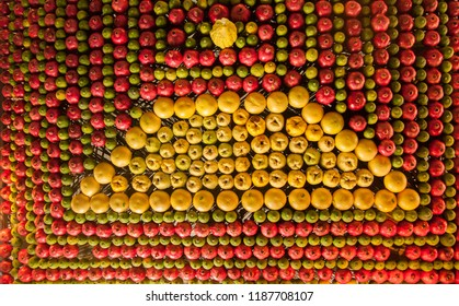 Festively fruits decorated ceiling in Samaritans house during Sukkot holiday