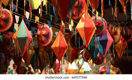 Festivities and colorful decorations for traditional junina south american party.
