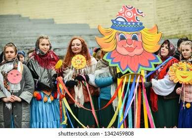 """Festivities at Maslenitsa on square in the center of Rezekne city. Festival """" Maslenitsa""""  Rezekne, Latvia - March, 2019"""