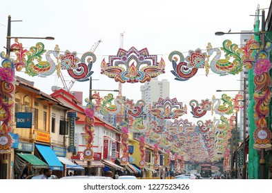 Festoon Decorations for the Deepavali (Diwali) Festival in Little India, Singapore, October 26th, 2018
