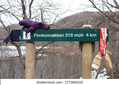 FESTVAG, NORDLAND COUNTY / NORWAY - APRIL 10 2020: Lost and found things at the starting point of Finnkonnakken mountain trail. Sjunkhatten National Park