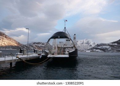 FESTVAG, NORDLAND COUNTY / NORWAY - FEBRUARY 03 2019: Norway sea ferry in the Nordland, Kjerringoy
