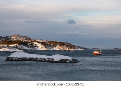 FESTVAG, NORDLAND COUNTY / NORWAY - FEBRUARY 03 2019:  Winter view on Festvåg gulf in the Norway