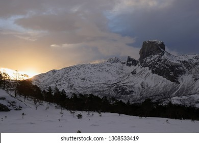 FESTVAG, NORDLAND COUNTY / NORWAY - FEBRUARY 03 2019:  Steigtind is one of the most beutiful mountains in Nordland county, Sjunkhatten National Park