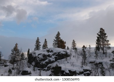 FESTVAG, NORDLAND COUNTY / NORWAY - FEBRUARY 03 2019:  Winter landscape in the nothern Norway, Sjunkhatten National Park
