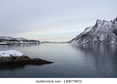 FESTVAG, NORDLAND COUNTY / NORWAY - FEBRUARY 09 2019:  Winter view on Festvåg gulf in the Norway