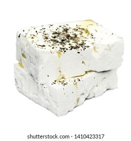 Feta cheese isolated on white background