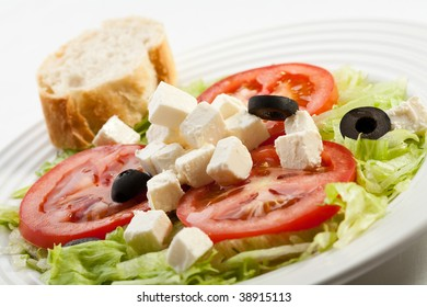 Feta cheese with tomatoes and olives