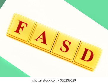 Fetal Alcohol Spectrum Disorder shortened to FASD in block letters