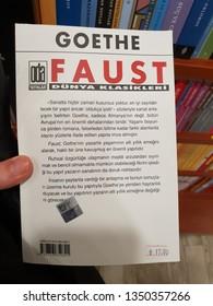 """Fethiye, Mugla / Turkey - December 29, 2018: Goethe's """"Faust"""" Turkish Language Edition / Turkish Translation"""