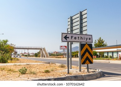 Fethiye, Turkey - August 13, 2017: A road sign (Signposts) with the inscription of cities, Fethiye, Mugla province, Turkey