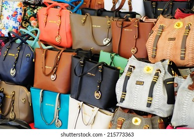 FETHIYE, TURKEY - AUGUST 26TH, 2014 - The weekly market is popular with tourists and locals alike and is renowned for the sale of counterfeit goods at well below normal retail prices