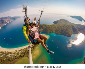 Fethiye Turkey Jule 2018, paragliding in Oludeniz, the view of the sea from the sky and the mountains
