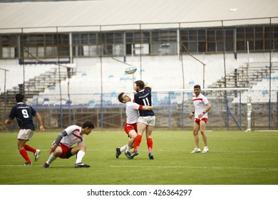 Fethiye, Turkey - May 02, 2016 : Rugby players are playing during the Unilig University summer competitions on May 02, 2016 in Fethiye, Turkey.