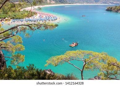 Fethiye, Turkey - May 24, 2019. The Blue Lagoon in Oludeniz, Fethiye, Turkey