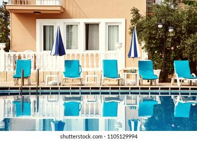 Fethiye, Turkey - September 22, 2015. luxury house with a swimming pool. resort hotel