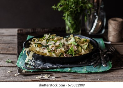 Fettuccine Alfredo with Zucchini, Bacon, Marjoram and Mint, copy space for your text
