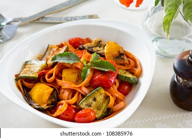 Fettuccine with grilled vegetables