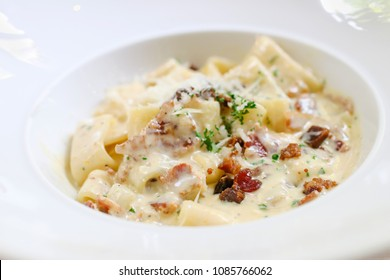 Fettucine carbonara pasta with fried bacon and grated cheese. Carbonara is an Italian pasta dish from Rome made with egg, hard cheese, pancetta and pepper.
