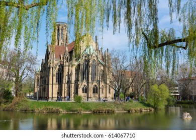 Feuersee Stuttgart Germany Europe Cathedral Religious Old Architecture Destination Visit Travel City Buildings Park Pond
