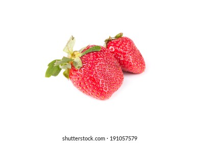few berries red strawberries on a white background