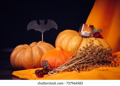 a few big pumpkins in the scenery for Halloween