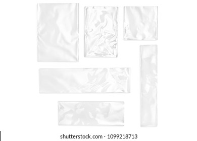 Few cellophane bags for candy. White bags package template in different size  on isolated background.