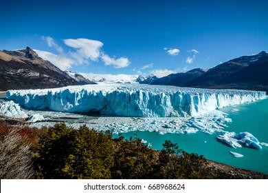 A few clouds over Perito Moreno Glacier in Glacier National Park near El Calafate, Argentina