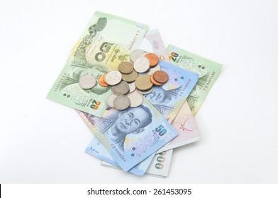 Few coins and banknotes of Thailand Kingdom (Thai Baht, THB)