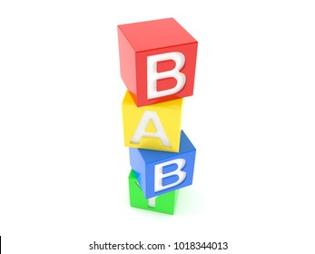 A few colored blocks with letters isolated on white background. 3d illustration