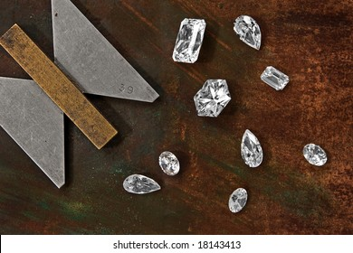 few diamonds over leather background and gauge