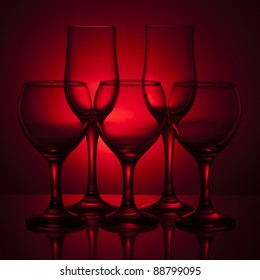 Few empty wine glasses