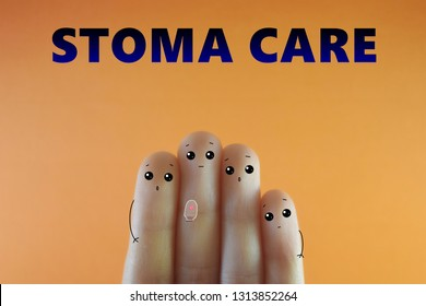 Few fingers decorated as few person. Suitable to be used for anything about stoma care.