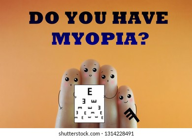 Few fingers decorated as few person. Suitable to be used for anything about myopia.