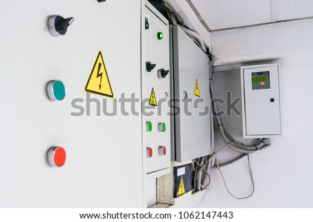 few fuse boxes installed on wall stock photo edit now 1062147443 rh shutterstock com