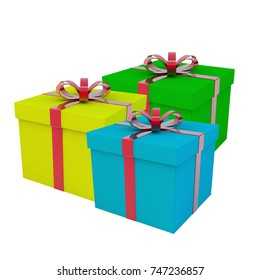 A few gift boxes. A gift for a holiday. 3d rendering.