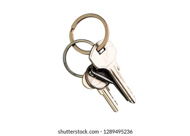 few keys on a metal ring  isolated on white