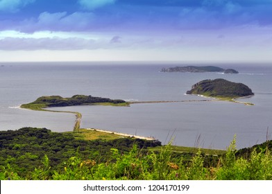 Few little islands in Japan sea, Far East, Vladivostok, Russia. Panoramic view from above.