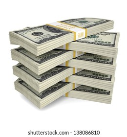 A few packs of dollar bills. Isolated render on a white background