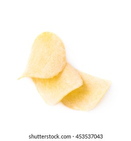 Few potato chips composition, isolated over the white background