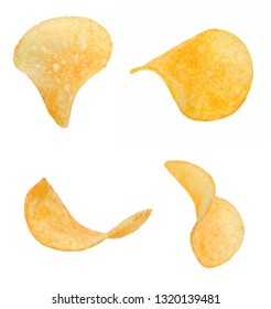 A few slices of crispy chips from different sides. White isolated background. Close-up.