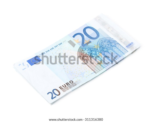 Few twenty euro bills in a pile, composition isolated over the white background