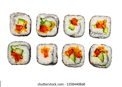 Few vegetable rolls isolated on white background. Top view