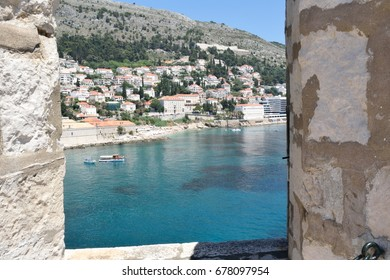 A few of the water in the harbour from the city walls of Dubrovnik, Croatia