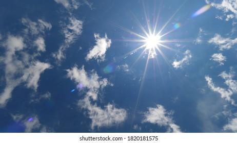 Few white scattered Cirrus clouds on deep blue sky against sun light rays