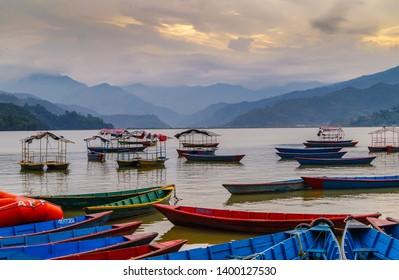 Fewa lake with majestic views in Pokhra Nepal